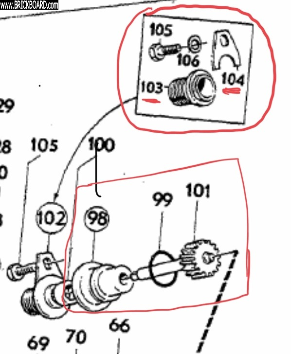 Volvo  -- Exploded diagram of J-Type M41 speedo drive assembly